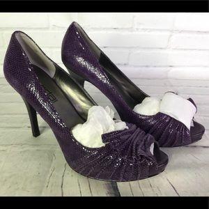 Moda Spana Query Leather Purple Snake Print Heels